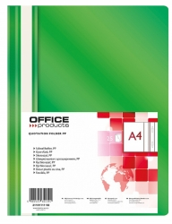 Skoroszyt OFFICE PRODUCTS, PP, A4, miękki, 100/170mikr., zielony